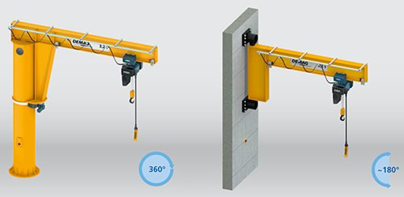 Pillar and wall-mounted slewing jib cranes with I-beam jib, low-headroom design