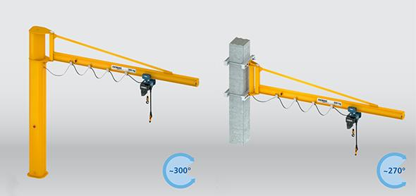 Pillar and wall-mounted slewing jib cranes with I-beam jib, braced design