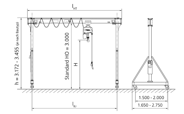 Single-girder full-portal crane with I-beam girder
