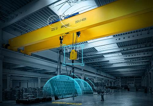 Demag load turning process allows a load weighing up to 50 tons to be turned by up to 180°.