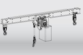 KLDC-D double chain hoist: low-headroom design, 4/5 lead-off position