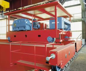 Flange-guided DWS wheel sets for the end carriages and crab travel units on a double-girder overhead travelling crane