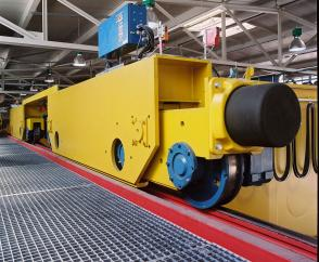8 DWS wheel sets with flanges installed on a 150-tonne double-girder overhead travelling crane