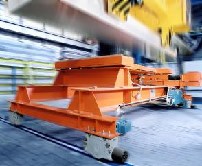 Perfect positioning: distribution carriage for aluminium bars with DRS wheel blocks and Demag offset geared motors