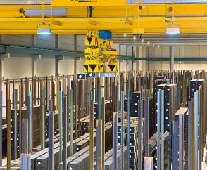 Fully automated crane installation with a Demag warehouse management system in a store for steel profile sections