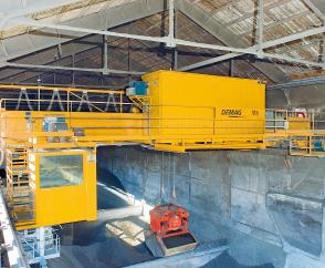 Fully automated 11-tonne process crane to serve a raw materials store in the cement industry