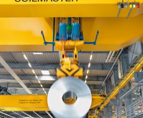 Safe and gentle handling of steel coils with magnet lifting equipment.